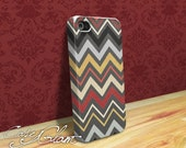 iPhone 4 Case iPhone 4S - Handmade case for iPhone 4 - Decoupage Art - Grey White Yellow Chevron iPhone 4 Case - BONUS FREE SCREEN Protector