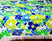 Vintage retro tablecloth with fringe - blue, green & yellow