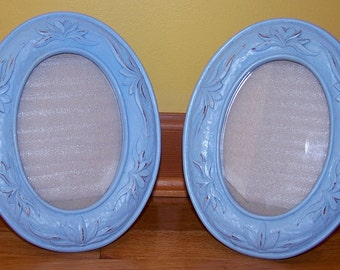 Pair of light blue frames - beach - cottage - with glass and backs