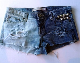Studded American Flag Cut Off bleached jean shorts, size 4
