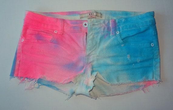 Color Block cut off jean shorts