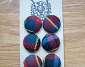 100% wool tartan fabric buttons (Caledonia new modern)
