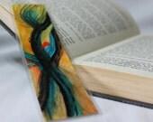 Abstract Movement Watercolor Painting Bookmark Laminated Black and Yellow Art