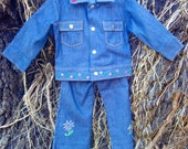 Vintage Tough and Sweet Embroidered Vintage Jean Jacket and Pants Set size 3T