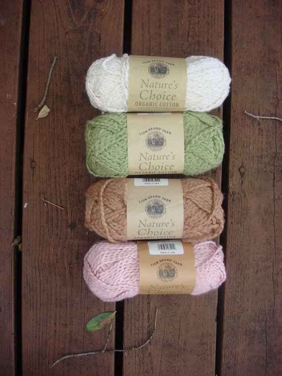40% Off Lion Brand Natures Choice Organic Cotton Lot of 4