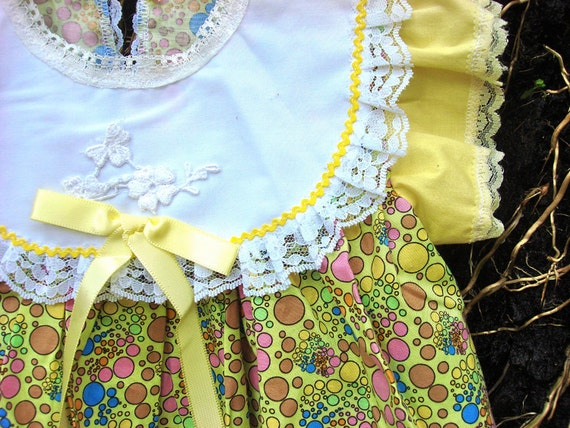 Vintage Polka Dot Heaven Green and Yellow Pretty Infant Dress
