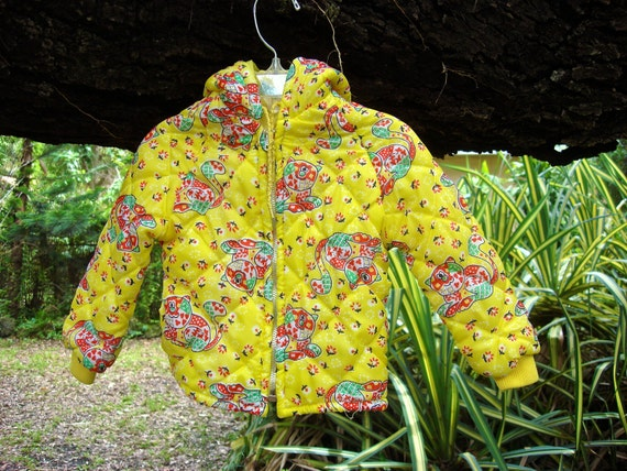 Vintage Yellow Quilted Calico Cat Jacket 3 Years
