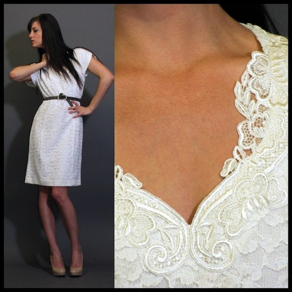 VTG 80s off white ivory lace wedding rehearsal wiggle cocktail midi dress