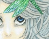 """Aceo """"Dragonfly Hairclip"""" (2.5x3.5inches) Original Art"""