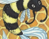 Bee Fish - aceo (2.5x3.5inches) Original Art