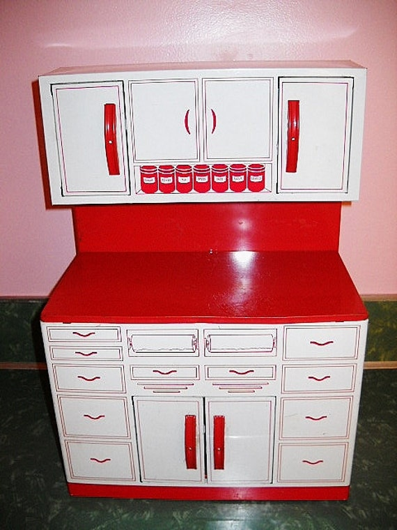 1950s Tin KITCHEN CABINET Retro Toy By Wolverine Red And White