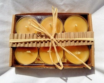 100% Pure Beeswax Tealight Candles-set of 6