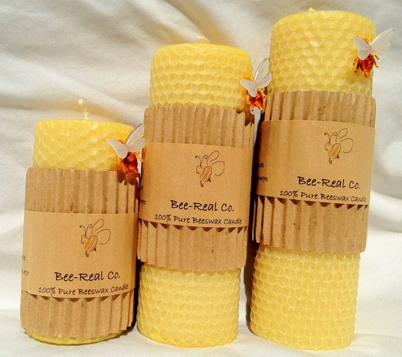 "100% Pure Beeswax Solid Pillar Candle with Honeycomb 6 1/2"" x 2"""