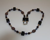 "Handmade  gemstone necklace 25"" Loving Crafted from Grandma's Vintage Beads, Pearls, Gemstones"