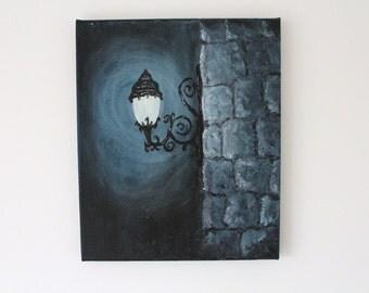 Street Lamp Original Oil Painting on Canvas