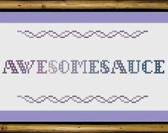 Awesomesauce: cross-stitch pattern