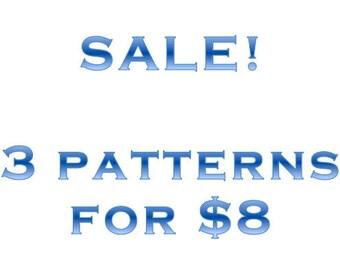 Cross-stitch pattern sale: 3 patterns for 8 dollars