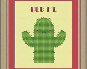 Hug me: cute cactus cross-stitch pattern