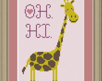 Oh. Hi. Cute giraffe cross-stitch pattern