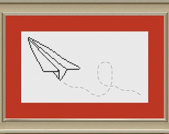 Whimsical paper airplane: cute cross-stitch pattern