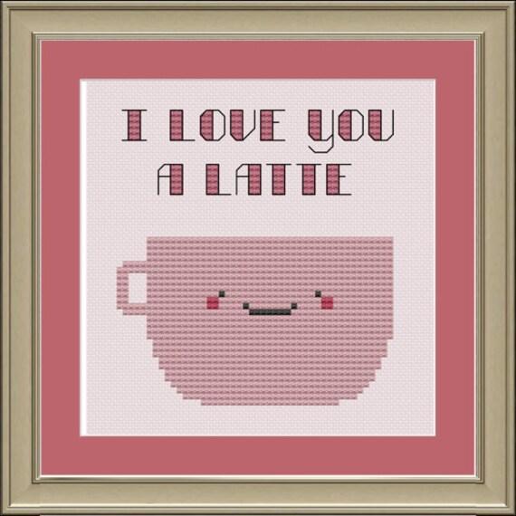 I love you a latte: cross-stitch pattern