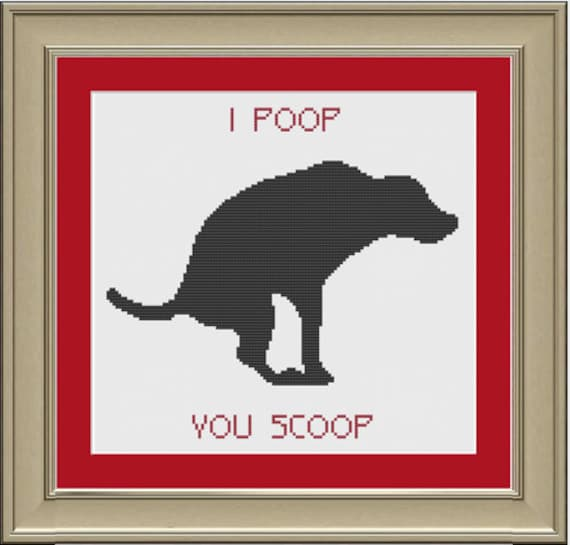 I poop, you scoop: funny cross-stitch pattern