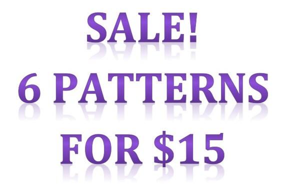 Cross-stitch pattern sale: 6 patterns for 15 dollars
