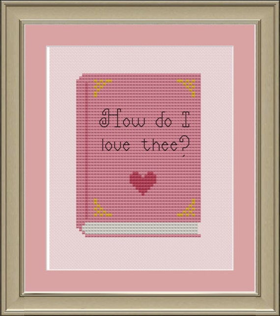 How do I love thee: cute book cross-stitch pattern