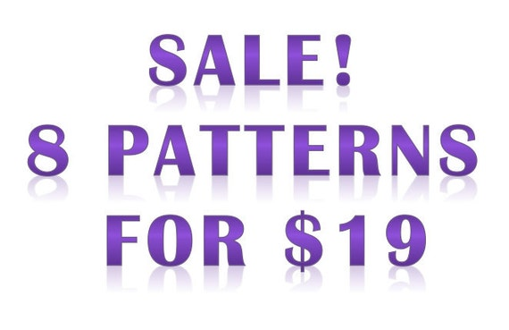 Cross-stitch pattern sale: 8 patterns for 19 dollars