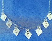 Sterling Silver Hand Stamped 7 Letter & 7 Diamond Shaped Charm Necklace