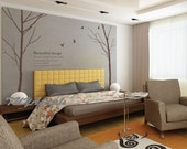 wall decals Vinyl Wall Decal Nature Design Tree Wall Decals chrildren's wall decals Wallstickers Tree with birds wall decals :2 tree trunk