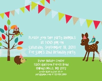Woodland Friends Birthday Party Invitation