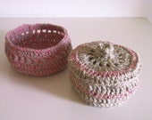 Shabby chic  bowl - set of two beige and pink crocheted basket and box in linen and cotton.
