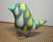 Handmade Handcrafted Unique OOAK Designer Fabric Bird- Meet The King of The Nest Mr.Chirp