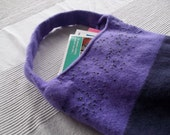 hand knitted felted bag beaded purple 100% wool hadbag shoulder pouch