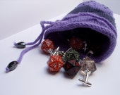 jewelry dice gift money bag felted beaded pouch purple knitted seamless sachet