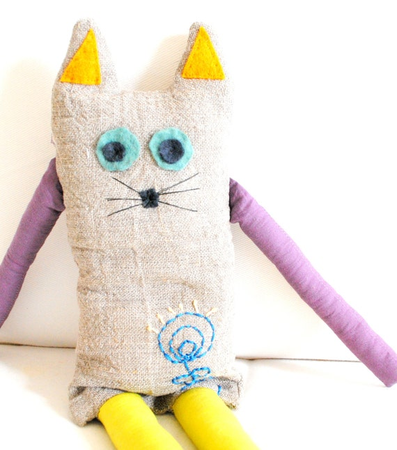 Fantasy Cat Soft Toy Natural Linen with colourful embroidery