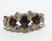 Swarovski Crystal Garnet and Comet, Silver Seed Bead Ring