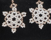 Snowflake Earrings, White Pearl/Silver Lined Crystal Seed Beads, Silver Ear Wires
