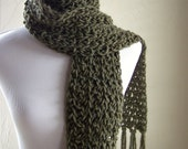 Cottonseed Bulky Lace Scarf in Lichen by Melanie Rice - crochet wool blend