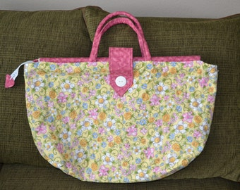 Pink Flower Over-Sized Tote Bag