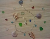 Hawaii Sea Shell Aquamarine Bracelet with Swarovski Crystals