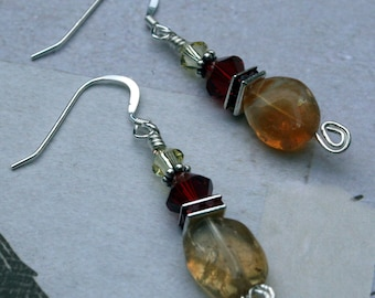 Citrine Nugget and Red Crystal Sterling Silver earrings