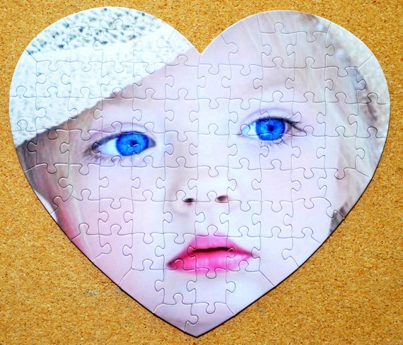 SALE.  Last Minute gift.  Custom Personalized Photo Jigsaw Puzzle either Round, Heart. Oval or 8x10 picture puzzle.  Seen on the TODAY Show