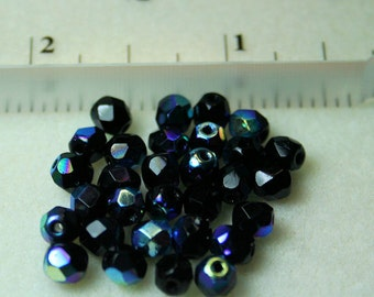 Jet (Black) Faceted Round AB Polished Czech Beads 5mm (40)