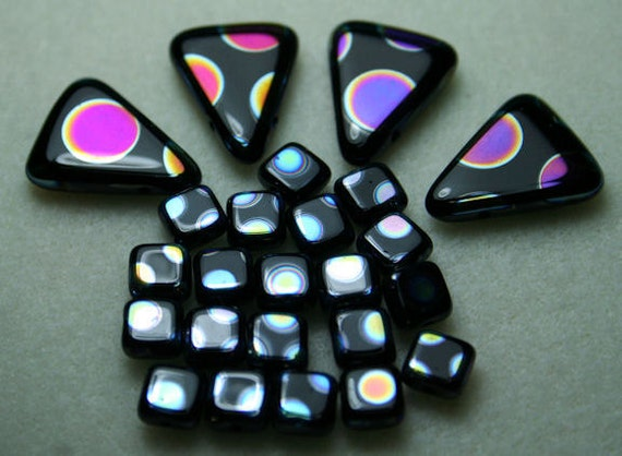 Jet (Black) Triangle & Square Czech Peacock Vitrail Rainbow Dots - 24 beads