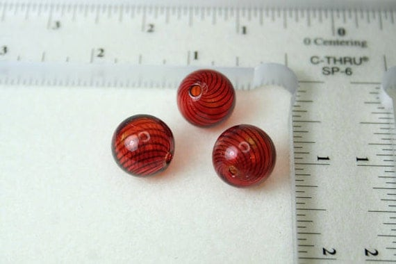 3 Handblown Round Glass Beads - 15mm - Red With Black Pinstripes
