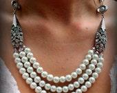 Bridal Jewelry-Pearl Necklace-Vintage Wedding-Wedding Necklace-Rhinestone Brooch-Dream Day Designs