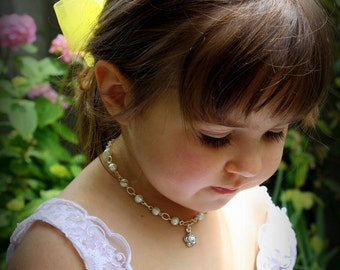 Gift for Flower Girl - Ivory Pearl Necklace - Girls Necklace - Thank You Gift - Flower Girl Necklace - Flower Girl Jewelry