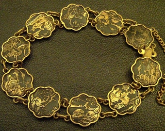 Antique Japanese Damascene // Traditional Asian Motif Brass Bracelet